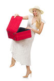 Woman with red suitcase isolated Stock Image