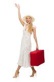 Woman with red suitcase isolated Stock Photos