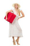 Woman with red suitcase Stock Photography