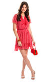 Woman in red summer dress. Royalty Free Stock Image