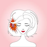 Woman with Red Sunflower. Young woman with red sunflower on meditation, pink gradient background Stock Images