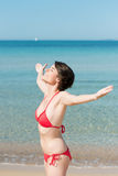 Woman in red swimsuit Stock Photography