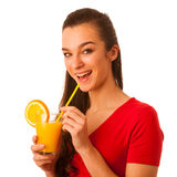 Woman in red t shirt drinking orange juice Royalty Free Stock Photography