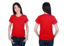 Woman in t-shirt isolated on white background Stock Photo