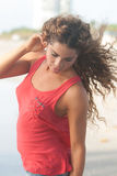 Woman in a red tank top Stock Images