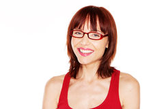 Woman in red tank top and eyeglasses Royalty Free Stock Photos