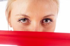 Woman with red tape Stock Photos