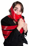 Woman In Red Tape Stock Photos