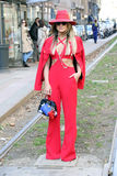Woman in red thassia naves Milano,milan fashion week streetstyle  autumn winter 2015 2016 Royalty Free Stock Photography
