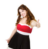 Woman in red thumbs up Stock Photo