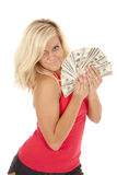 Woman red top fan money Stock Image