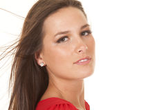Woman red top hair blow close side Royalty Free Stock Image