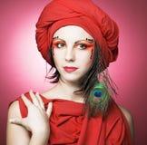 Woman in red turban Stock Photos