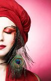 Woman in red turban Royalty Free Stock Photo