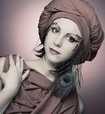Woman in red turban Royalty Free Stock Photos