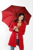 Woman with red umbrella. royalty free stock images