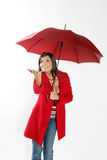 Woman with red umbrella. stock photography