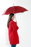 Woman with red umbrella. Royalty Free Stock Photos