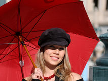 Woman With Red Umbrella Stock Images