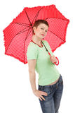 Woman and red umbrella Stock Image