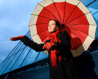 Woman with red umbrella Royalty Free Stock Images