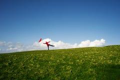 Woman with a red umbrella Stock Photos