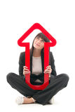 Woman with red upward arrow Royalty Free Stock Images