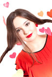 Woman in red on Valentine's day Stock Photography