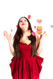 Woman in red on Valentine's day Stock Images