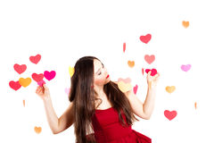 Woman in red on Valentine's day Royalty Free Stock Images