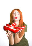Woman with the  red varnished shoes Royalty Free Stock Photography
