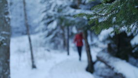 Woman in red walking in the winter forest stock video