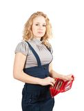 Woman with red wallet Royalty Free Stock Photo