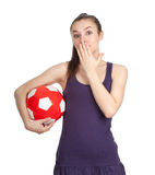 Woman with red-white ball Stock Photo