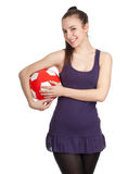 Woman with red-white ball Royalty Free Stock Photos
