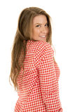 Woman red white shirt shorts stand side smile royalty free stock photography