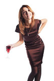 Woman with a red wine Stock Photo
