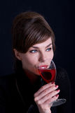 Woman with red wine Royalty Free Stock Photography