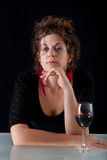 Woman with red wine Royalty Free Stock Images