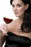 Woman with red wine Stock Photos