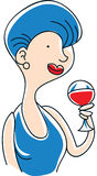 Woman with Red Wine Stock Photography