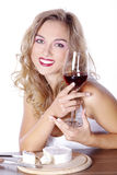 Woman with red wine and cheese Stock Image