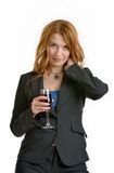 Woman with red-wine glass Royalty Free Stock Images