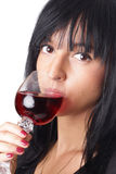 Woman with red wine Royalty Free Stock Photo