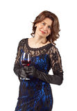 Woman with red wine Stock Image