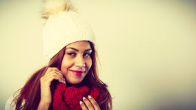 Woman with red winter clothing. Royalty Free Stock Photo