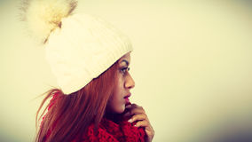Woman with red winter clothing. Royalty Free Stock Image