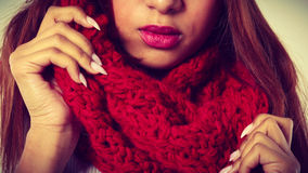 Woman with red winter clothing. Stock Photo