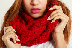Woman with red winter clothing. Stock Photography