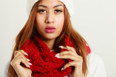 Woman with red winter clothing. Stock Image